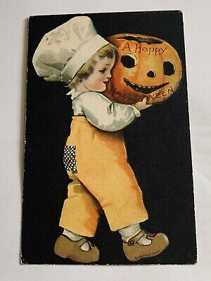 Vintage Wolf Halloween Postcard Clapsaddle - Boy W/ Pumpkins - Black Background
