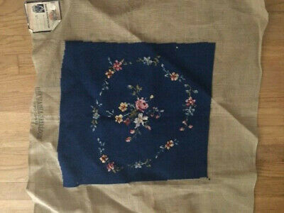 """Antique Hiawatha Heirloom Needlepoint Canvas Completed Blue Floral 16.5""""x15"""" Tag"""