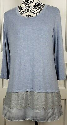 LOGO by Lori Goldstein Womens Layered Look Knit Top Lace Satin Hem Sz Large Blue