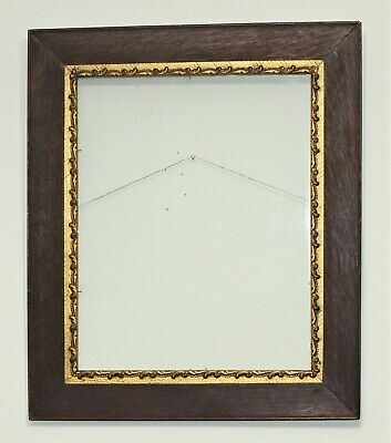Antique Turn of Century Aged Solid Oak Frame With Gold Gilt Border, Plate Glass
