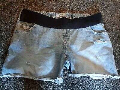 Ladies New Look Denim Maternity Shorts, Size 18, Vg Condition.