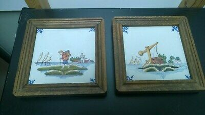 Antique Framed Painted Tiles x 2. Delft / Holland / Dutch?