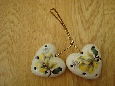2 X Vintage Sallie Robinson Heart Shaped Pomanders Yellow Flower Design