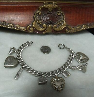 Antique Victorian Edwardian Sterling Silver Super Heavy 8 Charm Bracelet
