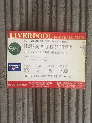 Liverpool FC Cup Winners Cup Ticket From  Semi Final 1997