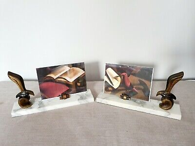 Original Art Deco Pair Marble Photo Frames Vintage 1930s French Stylised Birds