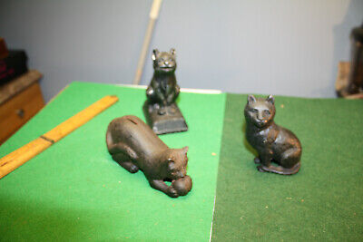 3 Cast Iron Vintage Cat Banks