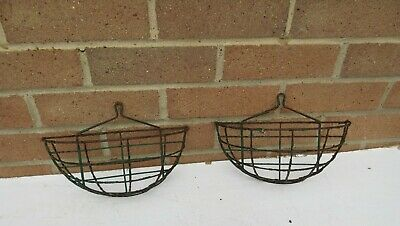 2 vintage worn rusty very small wall hung garden hanging baskets