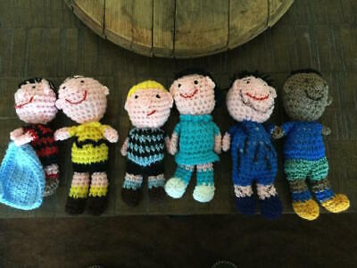 Snoopy Charlie Brown Lucy Pig-Pen Set Of 7 Crocheted Dolls Ooak Peanuts Rare!