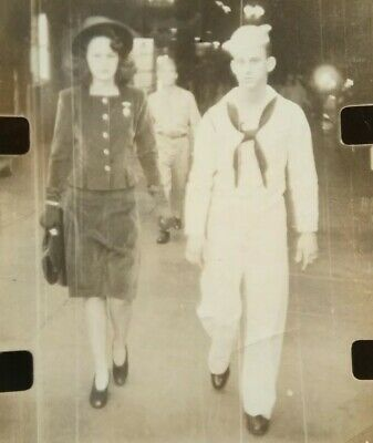 Vintage Found Photograph Navy Sailor Walks With Fashionable Pretty Girl  15