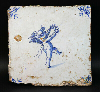 c1675, ANTIQUE ORIGINAL 17thC DUTCH DELFT BLUE AND WHITE WALL TILE, CHERUB, COA