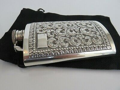 Fine Indo-China Hand Hammered Repousse Sterling Silver Liquor Flask, c1915