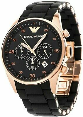New Ar5905 Emporio Armani Watch Rose Gold Black Silicone Rubber Chronograph Mens