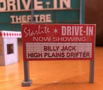 HO Scale Drive-In Theater Screen, Ticket Booth & Signs • Built Up & Painted •