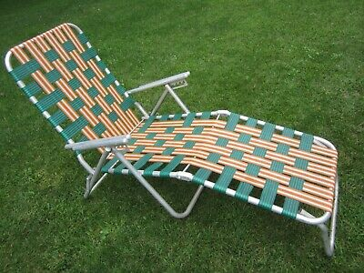 Terrific Vintage Folding Aluminum Webbed Chaise Lounge Lawn Chair Squirreltailoven Fun Painted Chair Ideas Images Squirreltailovenorg