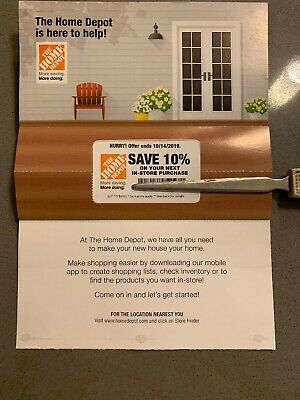 Home Depot 10% OFF Coupon -In-store ONLY Save up to $200 best coupon (10/14/19)