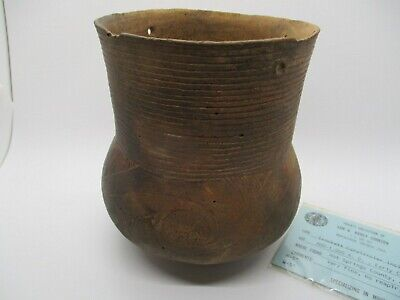 Pre-Columbian Caddo Crockett Curvilinier Incised Pottery Jar Vessel Artifact