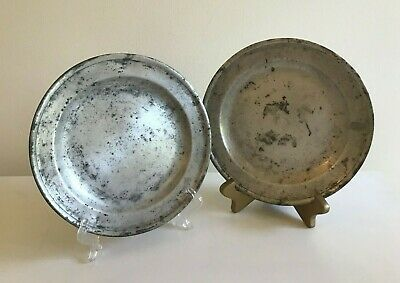 Set Of (2) Antique PEWTER PLATES with LONDON Marks