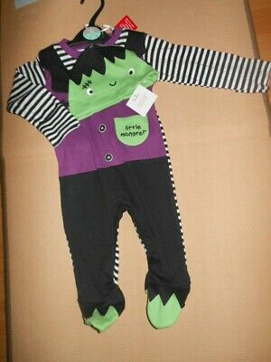 Bnwts Baby Halloween Little Monster Sleep suit Baby grow Costume & Hat 3-6 Mths