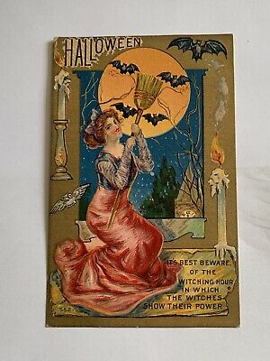Vintage Halloween Postcard - Pretty Witch With Broom - Large Moon - Bats # 552