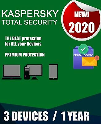 Kaspersky Total Security 2020 3 Pc Devices 1 Year  Best Antivirus Genuine Code