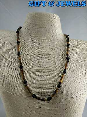 STERLING SILVER NECKLACE CLASP TIGER'S EYE BLACK ONYX 18'', 15.6 G RARE #ab051