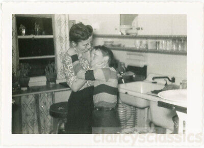 1955 Rare Affection Boy & Mother Shows Love in Old Fashioned Kitchen