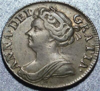 1711 GREAT BRITAIN Nice, Silver QUEEN ANNE SIXPENCE After ENGLAND-SCOTLAND Union