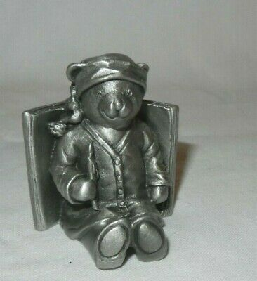 Royal Selangor Pewter Figurine Teddy Resting In Book Child Gift Christening