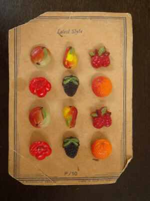 Card of vintage glass buttons, set of fruit- oranges, pears, cherries and apples