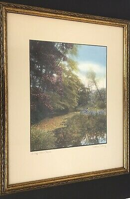 "Vintage Wallace Nutting "" A Leaf Strewn Brook"" Colored Fall Colored Print Signed"