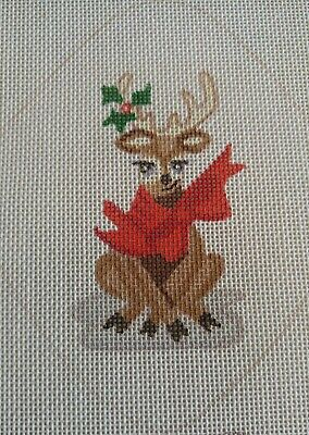 "Handpainted Needlepoint Canvas CHRISTMAS REINDEER Ornament by Polly Wogg 4¾""x5½"""