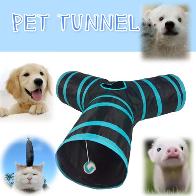 3-Way Cat Tunnel Collapsible Pet Toy Ball Puppy and Cat Tunnels BLUE NEW