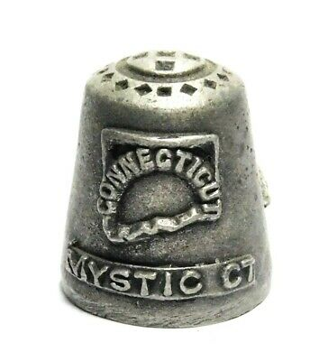 Hi-Relief Connecticui Mystic Ct. Pewter Thimble With Schooner Sailing Ship