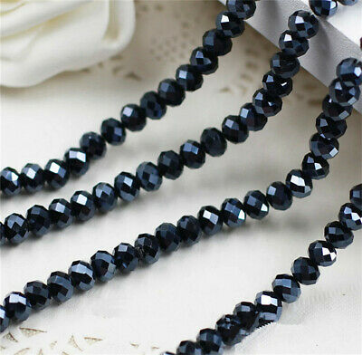 NEW Jewelry Faceted 30pcs 6x8mm Black AB Roundelle Crystal Loose Beads #5040 DIY