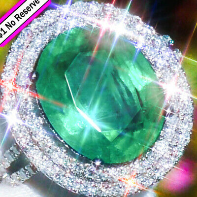 14K gold Natural 10.64ct COLOMBIAN EMERALD Diamond ESTATE Classic Cocktail Ring