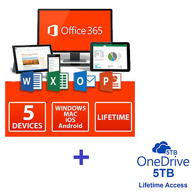 Microsoft Office 365 Pro Plus Subscription 5 Devices PC/Mac Lifetime + 5TB Cloud