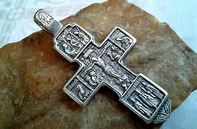 "Vintage X-Large Massive Solid Silver Orthodox Iconic Crucifix ""Holy Trinity"""