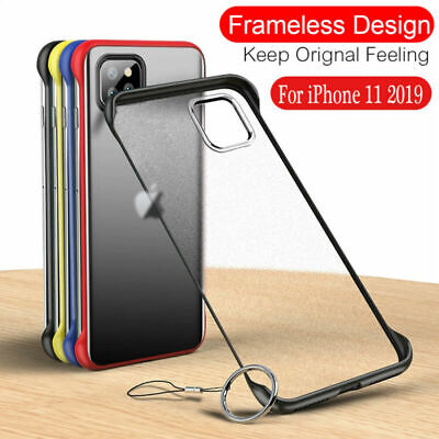 For iPhone 11 Pro Max Thin Frameless Acrylic Matte Shockproof Case Cover W/ Ring