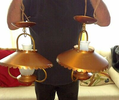 Pair of retro copper tone hurricane hanging lamps light fixtures with chimneys