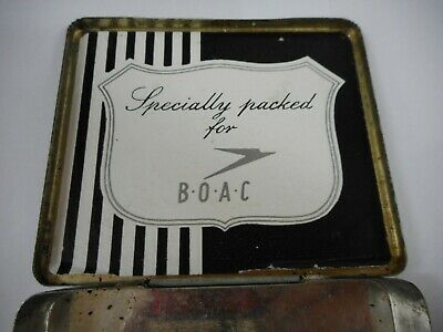 Vintage Boac Airlines Marcovitch Black & White Cigarettes Tobacco Tin