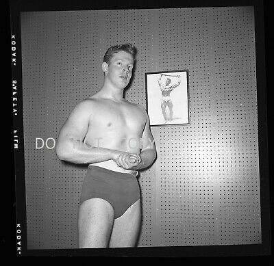 N622 1950'S Negative..young Man In Swimsuit Body Builder,Muscle Man By Image,See