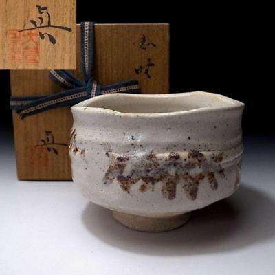 VL3: Vintage Japanese Hand-shaped Tea bowl, Shino ware with Signed wooden box