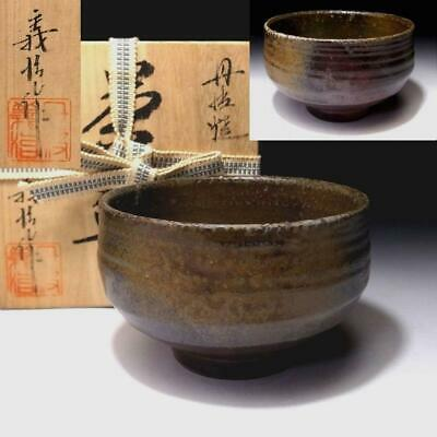 ND1: Vintage Japanese pottery tea bowl, Tanba Ware with Signed wooden box