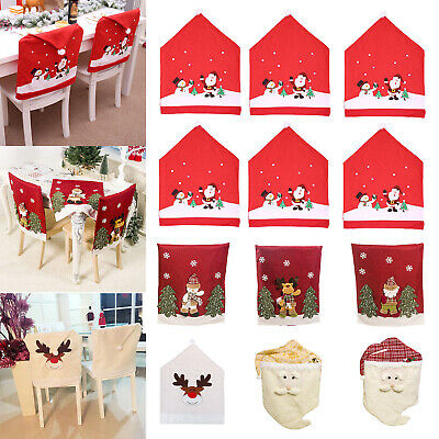 Dinner Table Santa Hat Christmas Chair Seat Case Covers Home Decorations Gift