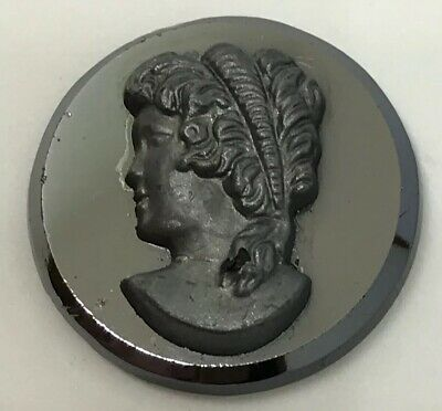 Vintage Jewelry REPLACEMENT CAMEO 18mm Round Black Pewter