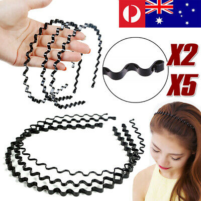 5Pcs Fashion Metal Wave HOOP Headband Sports Hair Band Unisex Men Women Girls