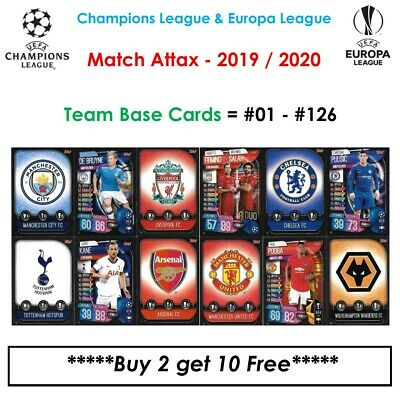 Champions League - Match Attax 2019 - 2020: Team Base Cards #01 - #126 (UK)