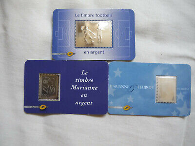 lot 3 timbres neuf argent football,Marianne Europe,Marianne