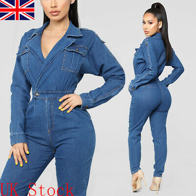 UK Women Long Sleeve Denim Jumpsuit Ladies Romper Casual Overall Jeans Trousers